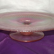 SALE Fenton Art Glass Pedestal Plate Rose Pink Stretch Glass