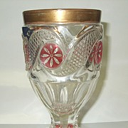 SALE Bohemian GILT ENAMEL Cut Glass Rummer Goblet
