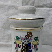 "SALE Vintage Porcelain White Apothecary Jar with Gold Accents ""Pulvis"""