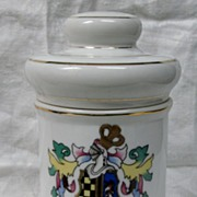 SOLD Vintage Porcelain White Apothecary Jar with Gold Accents Salsus