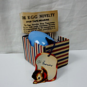 SOLD Wonderful Mid-Century Novelty Egg Tape Measure-Original Box