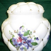 SALE Consolidated Con Cora Violets Quilted Cookie Biscuit Jar