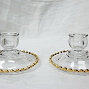 SOLD Pair of Cambridge Glass and Gold Trim Candleholders