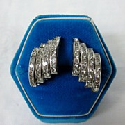 Vintage Butler & Wilson 4 Row Channel Set Rhinestone Earrings Silver Tone