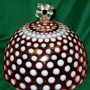 SOLD Fenton Cranberry Opalescent Coin Spot Butter or Cheese Dome Lid