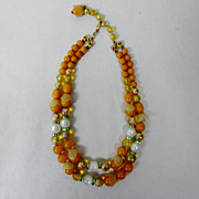 SALE Vintage Hobe Orange Bakelite Bead with Petal Accents Two Strand Necklace Signed
