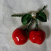 Vintage Original By Robert Enamel Cherries and Faux Pearl Pin/Brooch