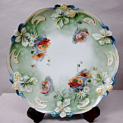 Art Nouveau RS Prussia Poppy Plate Mold 347 flowers Leaves Gilt Trim & Accents