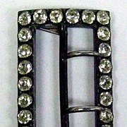 Vintage Signed Sterling Rhinestone Belt Buckle