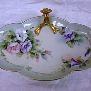 Limoges Hand Painted Morning Glories Gilt Tray Signed