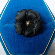 Antique Victorian Mourning Pansy Brooch Pearl Pin 10K Gold