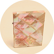 Antique Card Case Carte de Visite Mother of Pearl Etched Carved Pink Butterfly Dragon Fly