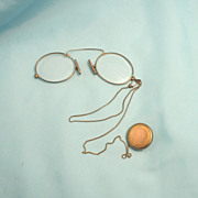 1910 Ladies Pince Nez or Nasal Knaffers Spectacles Eye Glasses Chain and Button Winder