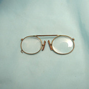 Antique Extending Bridge Pince Nez Magnifying Spectacles Eye Glasses 10k Gold Fill
