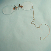 Antique Frameless Pince Nez with Ear Loop Spectacles Eye Glasses