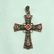 Antique 1900 Pendant Cross Garnets Marcasite Sterling Silver Marked