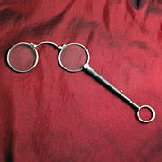 1890 Niello Silver 935 Lorgnette Eye Wear Glasses Spectacles Fashion Accessory Pendant