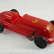 Wind-up Toy  Racing Car, by Saunders of Aurora Illinois , #3, Red Plastic