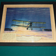 Aeronautic Lithograph, DeHavilland 4 Airplane, 1st Transcontinental Mail, Charles Hubbard