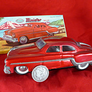 1940's  Friction Toy Car, Metal, India, Minister Deluxe, Likely 1946 Ford