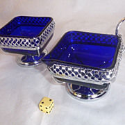 Old Cobalt Blue Glass, Sugar and Creamer,