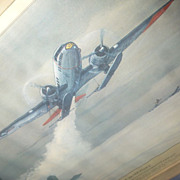 Hubbell Militaria Lithograph, Airplane Rescue, Greenland, 1948, Gooney Bird