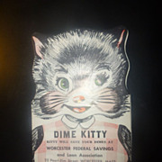 Savings Bank Dime Kitty Card, Worcester, MASS.,1954