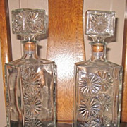 Vintage Matching Pr Square Liquor Decanter Bottles Clear Glass Daisy Wheel Pattern