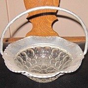 Vintage Farber & Shlevin Hand Wrought Hammered Aluminum Basket w Glass Bowl Insert