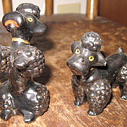 Vintage Hand Painted Japan Ceramic Redware Poodle Dog Begging Salt Pepper Shaker Set