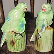 Vintage Japan Ceramic Perched Canary Birds Salt Pepper Shaker Set Plastic Stoppers