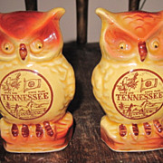 Vintage Scott Japan Made Ceramic Souvenir TN Owl Salt Pepper Shaker Set Moving Eyes