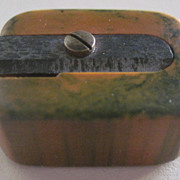 Vtg Bakelite Pencil Sharpener Made in Germany Marbled Butterscotch & Green Works