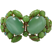 REDUCED Huge Mint Green and Aventurine Cabochon Clamper Bracelet