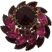 REDUCED LAST CHANCE -- D&E / Juliana Ruby-red Rivoli and Pink and Red Navette Tiered Brooch - 