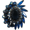 Blue, Blue, Blue Rhinestone Brooch