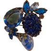 Blue &quot;Carved&quot; and Large Pear-Shaped Rhinestone Brooch