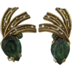Antique Gold-tone and Tourmaline Green Earrings