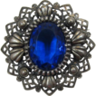 Huge Royal Blue Rhinestone Pin with Antique Silver-tone Frame