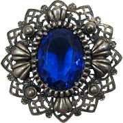 REDUCED Huge Royal Blue Rhinestone Pin with Antique Silver-tone Frame