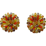 Festive Vendome Orange and Yellow Beaded Earrings