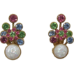Bright Pastel Rhinestone and White Confetti Cabochon Earrings