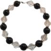 Signed Trifari Black and Clear Lucite Beaded Necklace