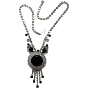 REDUCED D&E / Juliana Large Black Framed Rhinestone Necklace with Dangles