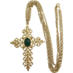 Bright Gold-tone Cross with Dark Green Cabochon