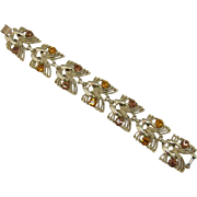 Signed Coro Topaz and Smoky Topaz Rhinestone Bracelet
