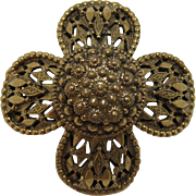 Signed Original by Robert High-domed Gold-tone Flower Brooch/Pendant