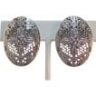 Signed Whiting & Davis Silver-tone Bright Silver-tone Earrings