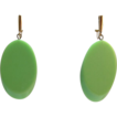 "Signed Trifari Apple Green ""Sliced"" Thermoplastic Dangling Earrings"