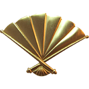 1980's Anne Klein Brushed Gold-tone Fan Brooch